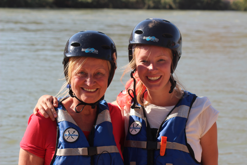 Two women on rafting tour
